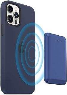 باور بانك لاسلكي مغناطيسي ببطارية مدمجة 5 واط 5000 MAH لجوالات ايفون 12 برو وايفون 12 وايفون برو ماكس، لون ازرق