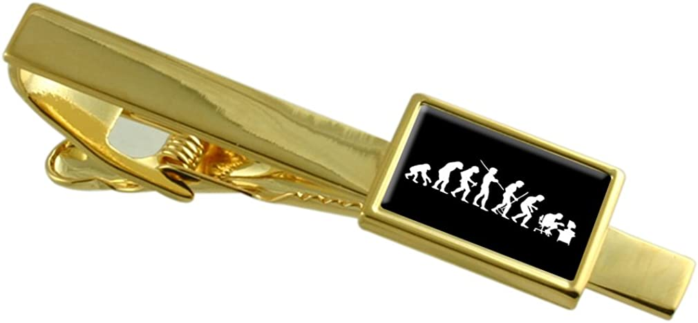 Select Gifts Evolution Ape to Man Computer Gamer Gold-Tone Tie Clip Engraved Message Box