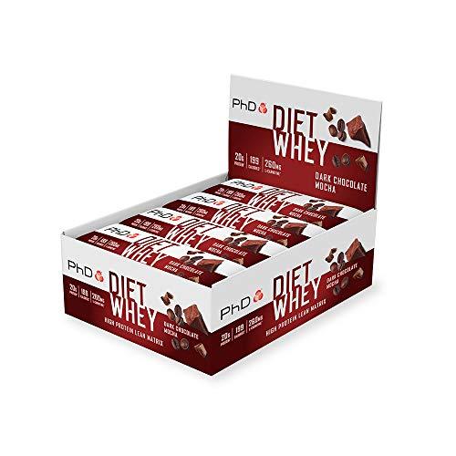 PhD DE Nutrition Diät Molke Riegel, High Protein Riegel mit Dunkle Schokolade Mokka Geschmack, 12 x 65 g Box, 830 g