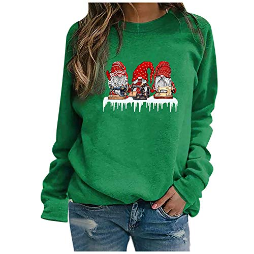 Dosoop Women's Christmas Crewneck Long Sleeve Sweatshirts Casual Loose Fit Faceless Doll Graphic Pullovers Tops Tee Shirts