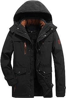 BININBOX Chaqueta de algodón para hombre, Chaqueta de invierno, Abrigo de edad mediana, Ropa de invierno de longitud mediana