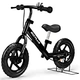 Goplus 12' Kids Balance Bike, No Pedal Bicycle w/Adjustable Bar and Seat, Brake, Bell Ring, Stand, for Ages 3 to 6 Years, Pre Bike Push Walking Bicycle (Black)