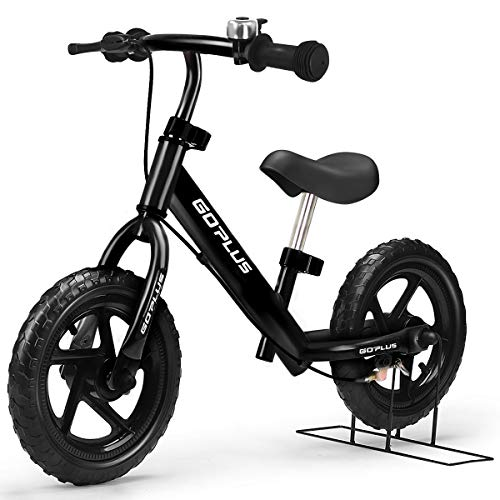 """Goplus 12"""" Kids Balance Bike, No Pedal Bicycle w/Adjustable Bar and Seat, Brake, Bell Ring, Stand, for Ages 3 to 6 Years, Pre Bike Push Walking Bicycle (Black)"""