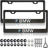Gloss Black Carbon Fiber Patterned Matte Black Metal License Plate Frame for BMW, Accessories for BMW, License Plate Cover for BMW, License Plate Holder for BMW (2 Car Plate Frames)