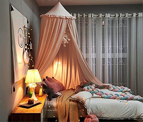 SWECOMZE Baby baldakin sänghimmel barn spädbarn säng dekoration myggnät för baby omklädningsrum inomhus utomhus lek läsning sovrum (rysch rosa)