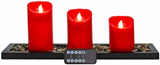 Urchoice Flameless Candles Led Candle,Battery Operated Red Pillar Candles Gift Set, 10-Key Remote and Cycling 24 Hours Tim...