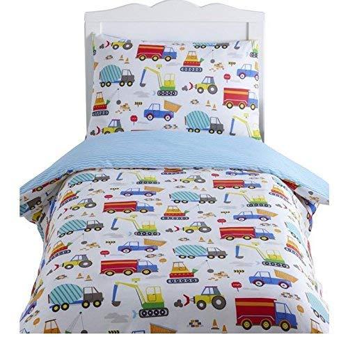 Kidz Club Bright Trucks Junior Duvet Cover and Pillowcase Set, Reversible Quilt, Digger