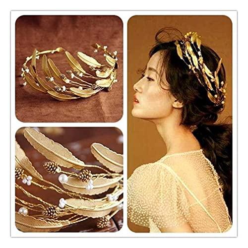 xiaofeng214 Vintage Cristal Perla Diadema Novia Tiara Headpiece Dorado Color Hoja joyería de Pelo Coronas de Boda Accesorios para el Cabello (Metal Color : As Show)