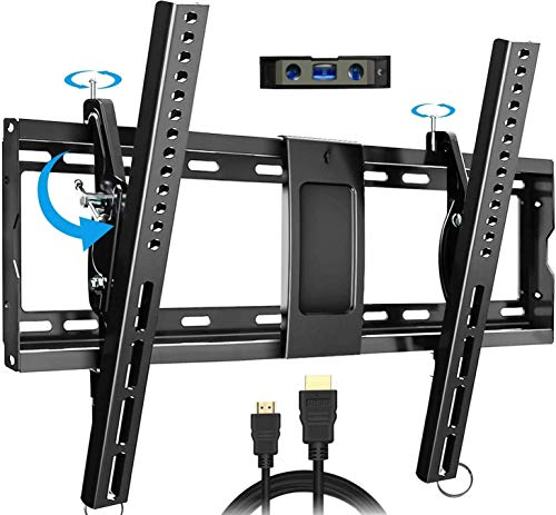 """Everstone Tilt TV Wall Mount Bracket for Most 32-80 Inch LED,LCD,OLED,Plasma Flat Screen,Curved TVs,Low Profile,Up To VESA 600 x 400 and 165 LBS,Includes HDMI Cable and Level,Fits 16"""",18"""",24""""Studs"""