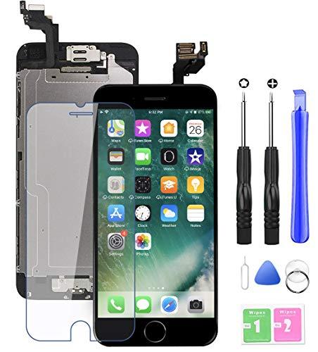 EXW Display Screen Digitizer per iPhone 6 Schermo Nero LCD Touch Parti di Ricambio (con Home Pulsante, Fotocamera, Sensore Flex) Utensili Inclusi (per iPhone 6 Nero, 4,7 Pollici)