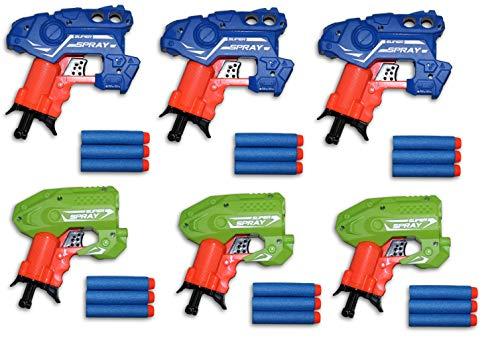 Toys+ Big Bag of Dart Guns! Mini Foam Dart Blasters Birthday Party Favors (6 Pack)