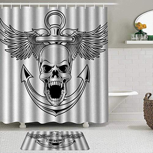 EricauBird Cortina de ducha, diseño de calavera con ancla y alas de águila libertad, diablo, cazador de mar, esqueleto gráfico de mito fresco, cortinas de ducha, decoración de baño 182 x 182 cm