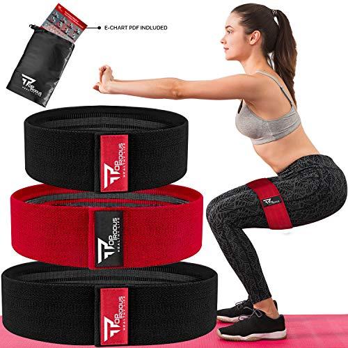 TOPRODUS Fabric Resistance Bands & Core Sliders Übungsset - 3 Stoffbänder & 2 Stärken Slides für Beine, Po, Hüfte, Gesäß, Bauchmuskeln, Schultern & Arme (3 Widerstandsbänder)