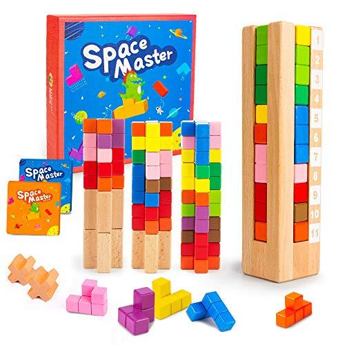 VATOS Kinder Spiel, IQ Spiele Brain Teaser Tetris Knobelspiel Holzpuzzle für Kinder – Space Master Geometrische Spiel Logik Kinder – STEM Intelligentes Spielzeug Geschenk für Kinder & Erwachsene