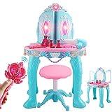 Tocador para niños 70.5x48.5x29cm Simulación Juego aderezo de la casa tabla secundaria de control remoto de la puerta doble pequeña princesa muchacha del rompecabezas de juguete tocador Set Gran regal