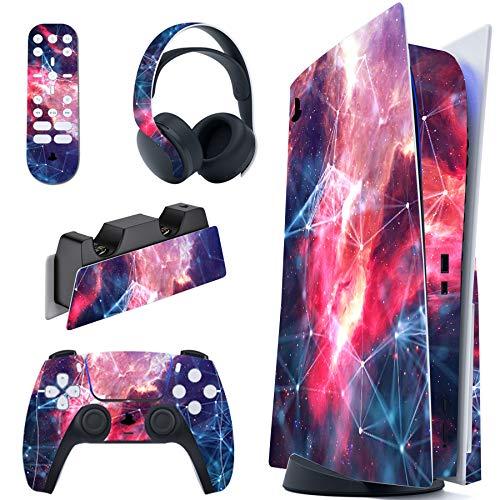 PlayVital Skin für PS5 Konsole Regular Edition, Aufkleber Vinyl-Skin Stickers Schutzfolie Folie für Playstation 5, DualSense Controller, Ladestation, Headset und Medienfernbedienung-Galaxy Space