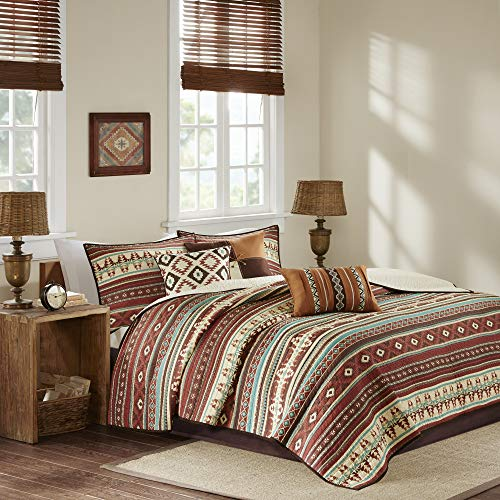 Madison Park Quilt Rustic Southwestern All Season, Breathable Coverlet Bedspread, Lightweight Bedding, Shams, Decorative Pillow, King/Cal King(104u0022x94u0022), Taos, Ikat Red/Spice