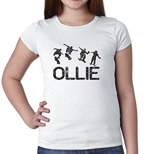 Skateboarden Ollie Trick Sequence Silhouette Trendy Meisjes Katoen Jeugd T-Shirt
