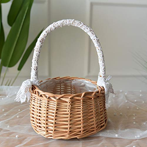 ZRSWV Cesta de mimbre de ratán para boda, cesta de flores con lazo, cesta de almacenamiento hecha a mano de sauce con asa y forro de plástico para fiesta de ceremonia de boda (marrón, M)