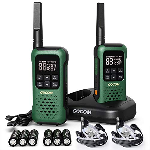 Walkie Talkies for Adults Long Range, Two Way Radios,Camping Waterproof IP67,FRS, VOX Hands-Free,NOAA Weather Alert 22 Channels, Walkie Talkie for Outdoor, Flashlight & SOS Emergency Lamp, GOCOM G9