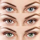 3 Pair Monthly Color contact lens, 1 Lens Case, 1 Lens solution 55% water, 35% phemfilcon A 6 soft Lenses In a strile buffered saline solution Suitable for both Male and Female Store it in a proper case, always use fresh solution and do not wear it o...