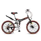 Worth having - Bici de bicicleta de montaña plegable adulto Ligero Ligero Unisex Men City Bike Bike de 22 pulgadas Marco de aluminio Bicicleta de comprador de las señoras con asiento ajustable, 7 velo