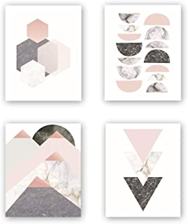 Unframed Abstract Geometry Art Print Modern Mid Century Art Poster,Set of 4(8''x10'') Geometric Wall Art Canvas Painting Triangles,Sunrise Art Print for Living Room Wall Decor