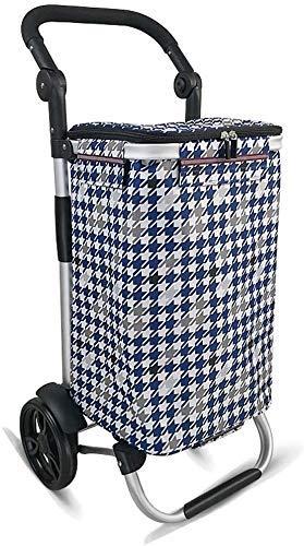 Yeeseu Ligera Carrito de la Compra Plegable de Gran Capacidad supermercado Azules 2 Ruedas de rodamiento Coche de Aluminio de aleación de Remolque