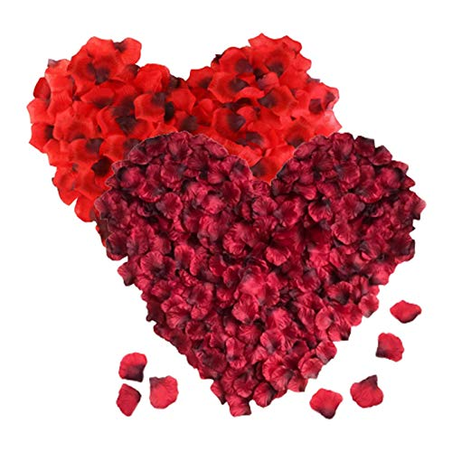 RICISUNG 2000枚 花びら プロポーズ 飾り 2色 桜吹雪 フラワーシャワー 結婚式 誕生日 撮影 お祝い 演出にローズ 赤 パーティー用飾り 演出にローズ