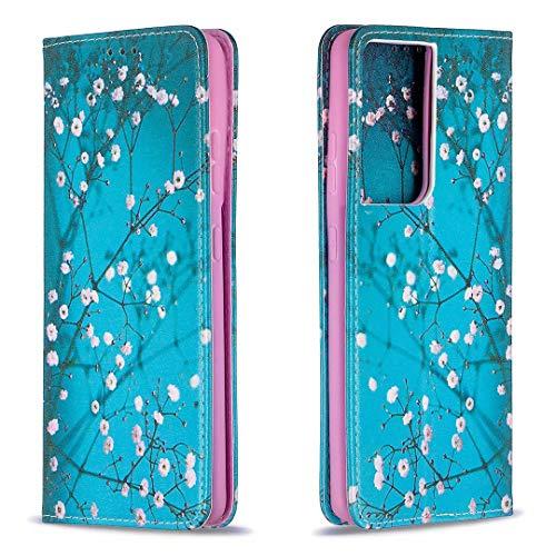 Miagon Brieftasche Hülle für Samsung Galaxy S20 Ultra,Kreativ Gemalt Handytasche Case PU Leder Geldbörse mit Kartenfach Wallet Cover Klapphülle,Blau Blume