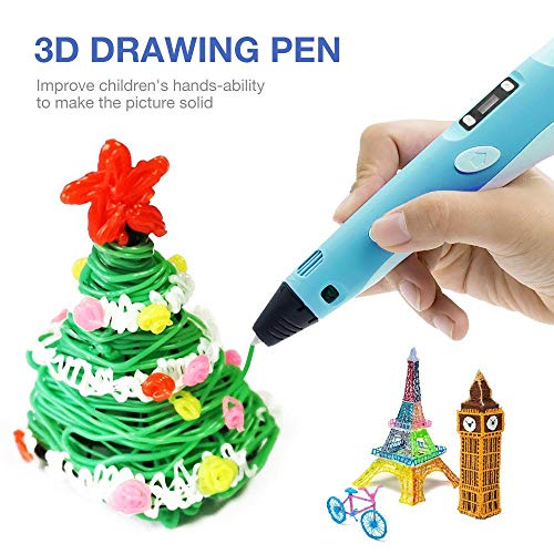 lesgos 3D Printing Pen, 3D Doodler Pen With LCD Screen, USB Rechargable Drawing Pen Printer With 3 Colors 30FT PLA Filament Refills For Kids,Artist, Adults, Holiday, Christmas DIY Gifts