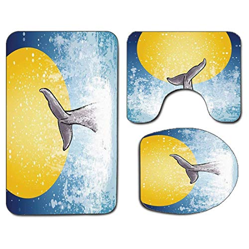 3Pcs Non-Slip Bathroom Rug Toilet Seat Lid Cover Set Whale Soft Skidproof Bath Mat Whales Tail in Ocean on Full Moon Diving in Water Swimmer Marine Animal Print,Yellow Grey Blue Absorbent Doormat Bedr