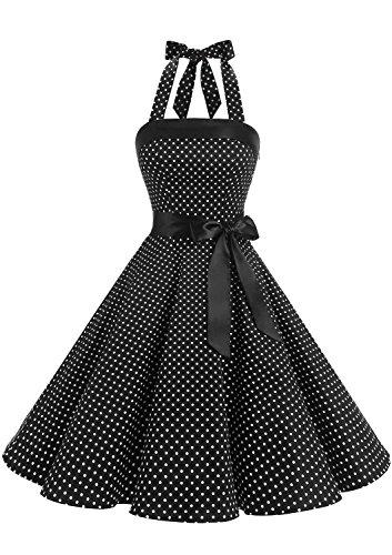 Timormode Damen Vintage Cocktailkleid Knielang Neckholder Swing Retro Rockabilly Kleid XS Klein Schwarz Weiß