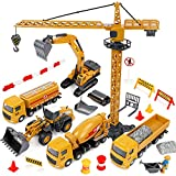 BeebeeRun Construction Toys,Kids Alloy Construction Site Vehicles Toy Set,Engineering Truck Playset with Crane Excavator Cement Fuel Truck Steamroller,Car Toys for 3 4 5 6 Year Old Boys Toddlers