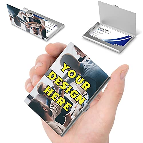 Custom Business Card Holder with Logo, Personalized Business Card Holder for Men and Women, Slim Pocket Aluminum Alloy Case, Add Photo Text Design Your Own Card Holder Case