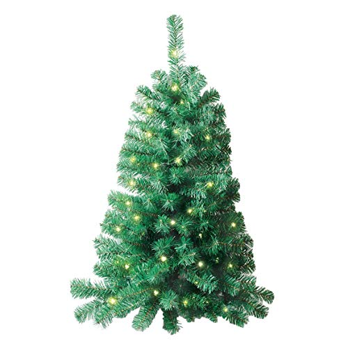 Jobar IdeaWorks Wall Mounted Christmas Tree, Lighted, and 3 Feet Tall, One Size Fits All, Green