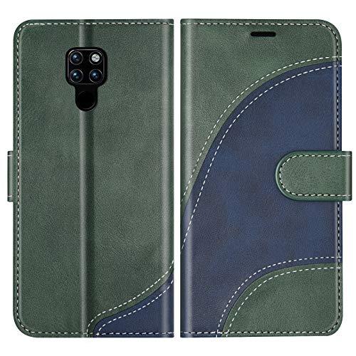 BoxTii Cover per Huawei Mate 20, Custodia in PU Pelle Portafoglio per Huawei Mate 20, Magnetica Cover a Libro con Slot per Schede, Verde