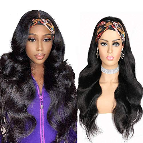 Human Headband Wig, Body Wave Wigs Yitter Headband Wig for Black Women Glueless None Lace Front Human Hair Wigs 180 Density Headband Wig Curly Hair Wigs Machine Made Wigs (20inch)