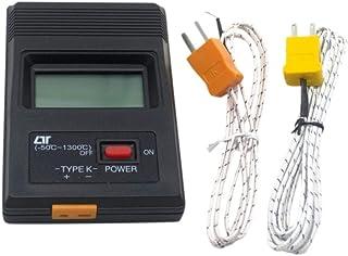 (Aideaz) 高性能 コンパクト 高耐熱 デジタル 温度計 選べる 各種 本体表示は -50℃ から 1300℃ まで (ヒモ状プローブ 1m 2本)