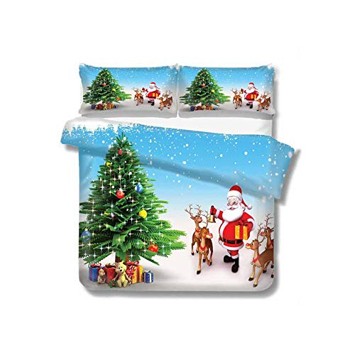Kresdy Direct Santa Extra Large Quilt Cover Reindeer with Jingle Bells Gather Around Father Christmas Festive Tree with Presents Can be Used as a Quilt Cover-Lightweight (Queen) Multicolor