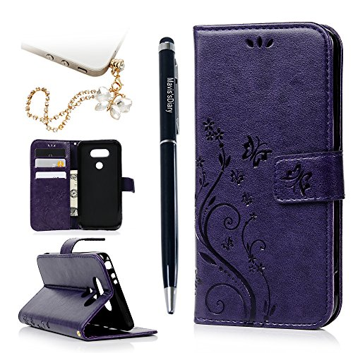 LG G5 Case (LG H868),Mavis's Diary Embossed Wallet Fashion Butterfly Floral PU Leather & Hand Strap Card Holders Magnetic Flip Soft TPU Rubber Inner Cover with Cute Bling Dust Plug & Stylus - Purple