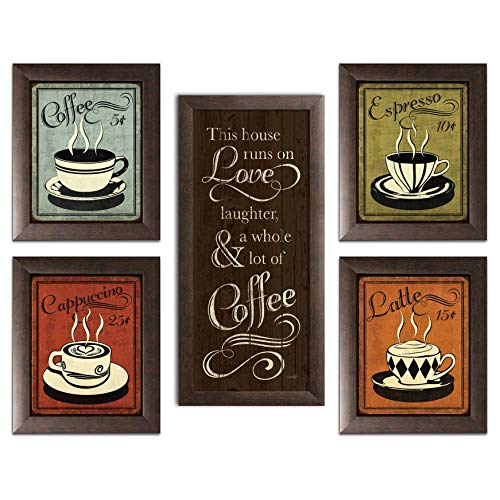 """Classic Retro Coffee, Espresso, Cappuccino, Latte and 'This House Runs On Love Laughter and a Whole Lot Of Coffee"""" Set; Four 8x10-Inch and One 8x18in Brown Framed Fine Art Prints; Ready to hang!"""