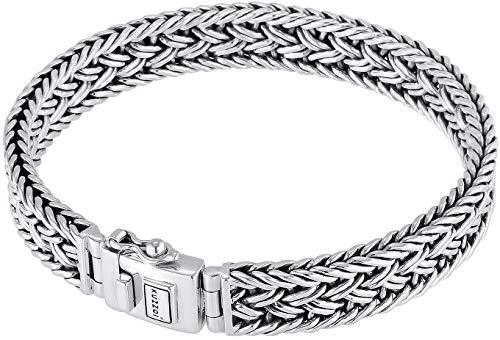 Kuzzoi Buddha Silber-Armband für Herren, handgefertigtes Königskette-Armband aus echten massiven 925 Sterling Silber, Luxus Herren-Armband Gravur, 10mm breit, 38g schwer 0210480118_21