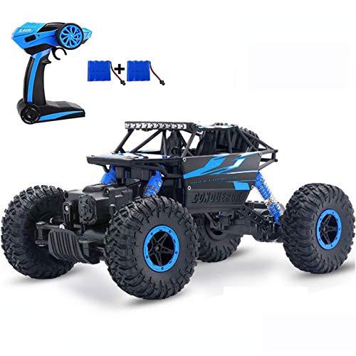 SZJJX RC Voiture Télécommande de Course 4WD Jouets pour Enfants 2.4Ghz Tout Terrain Rapide Rock Crawler 1:18 Camion Buggy avec Deux Rechargeable Batteries Cadeau pour 5-12 Ans Garçons Filles Bleu