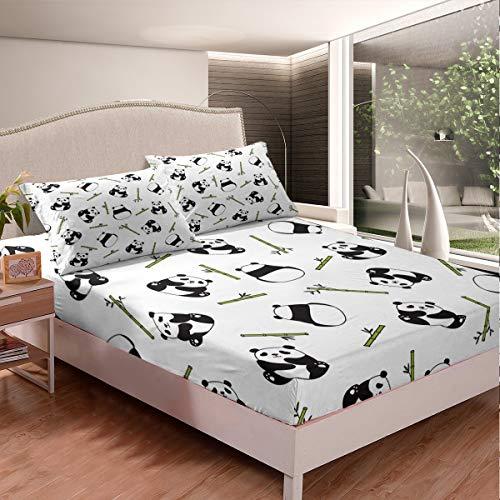 Juego de sábanas para niños con diseño de animales de dibujos animados, juego de sábanas de oso panda negro, blanco, para niños y niñas, funda de cama de bambú verde, tamaño King