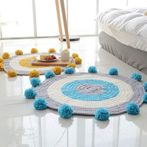LJJOO Alfombras tejidas a mano, alfombras para bebés estera de rastreo, alfombras para dormir de dibujos animados, niños antideslizante juego Mat de algodón Play Play Mat Mat Niños Decoración de la ha