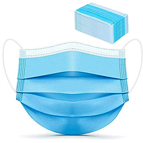 100 Pack Disposable Medical Face Masks Breathable 3 Ply Masks for Protection Blue