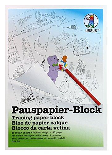 Ursus 7034600 - Pauspapier Block A4, 5 Vorlagen, 50 Blatt