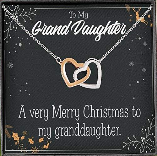 Express Your Love Gifts To My Granddaughter Merry Christmas nieta colgante de collar inseparable de oro rosa de 18 quilates, regalo para nieta con caja de lujo estilo caoba