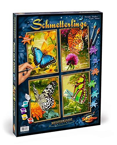 Schipper 609340628 - Malen nach Zahlen - Schmetterlinge - Bilder malen für Erwachsene, inklusive Pinsel und Acrylfarben, Quattro je 18 x 24 cm